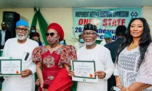 AKEREDOLU RECEIVES CERTIFICATE OF RETURN FROM INEC
