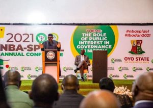 ONDO STATE GOVERNOR, ARAKUNRIN OLUWAROTIMI AKEREDOLU, SAN AND OTHERS AT ANNUAL CONFERENCE OF THE NIGERIA BAR ASSOCIATION (NBA) SECTION ON PUBLIC INTEREST AND DEVELOPMENT LAW, HELD AT THE JOGOR CENTER, IBADAN, OYO STATE ON MONDAY, MAY 24, 2021.